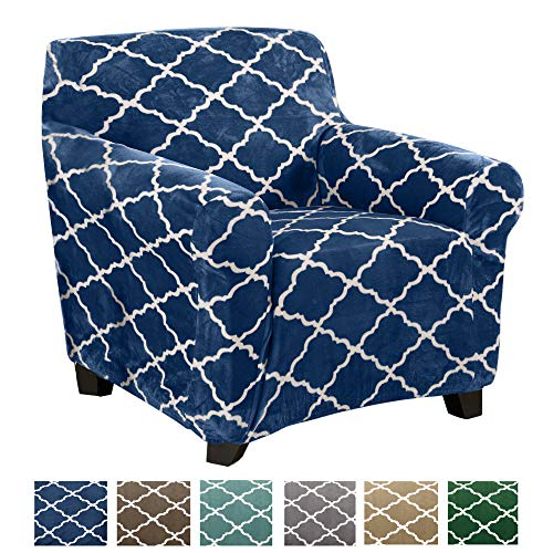 Great Bay Home Modern Velvet Plush Strapless Slipcover. Form Fit Stretch, Stylish Furniture Shield/Protector. Magnolia Collection Strapless Slipcover Brand. (Chair, Navy) (For Armchairs Slipcovers)