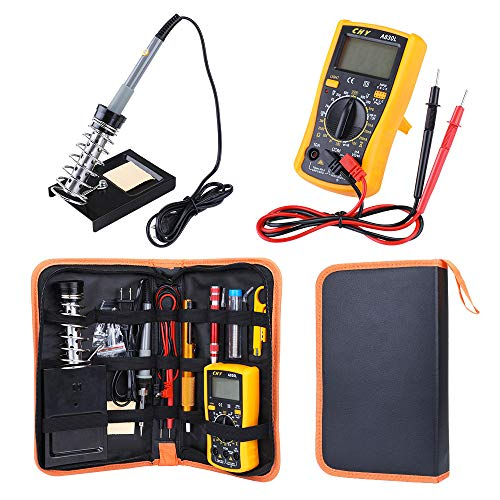 Holulo Soldering Iron Kit for Electronics,60W Adjustable Temperature Welding Tool with 2 Soldering Tips,8-in-1 Precision Pocket (PU Bag Packing)