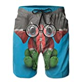Sssssddd Kenyan Flag Glasses Baby Elephant Men's Tie Tropical Quick Drying Shorts Swimming Volleyball Beach Trousers