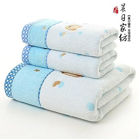 LSD-fubao toalla de baño traje de tres piezas cartoon bordadas toalla toalla de algodón 34x75cm toalla de 70x140cm,Rosa: Amazon.es: Hogar