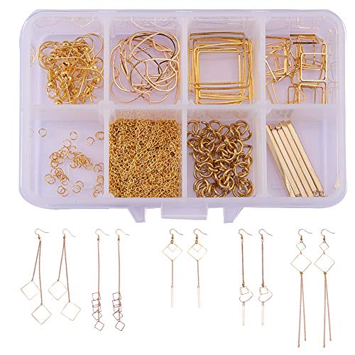 SUNNYCLUE 1 Box DIY 10 Pairs Geometric Hollow Squares Earrings Making Starter Kit Classic Drop Dangle Long Tassel Chain with Earring Hooks Jewelry Making Supplies Craft for Beginners, Instruction