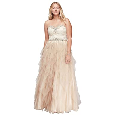 a55b347680 David s Bridal Beaded Plus Size Prom Ball Gown with Cascading Skirt Style  8361111W.