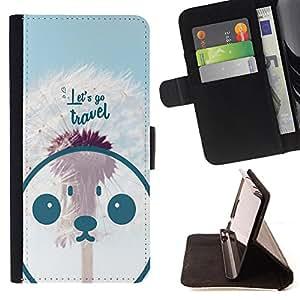 King Case - FOR Samsung Galaxy A3 - let's go travel - Prima caja de la PU billetera de cuero con ranuras para tarjetas, efectivo Compartimiento desmontable y correa para la mu?eca