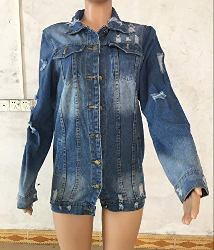 con di Donna Bottoni Unita Denim Lunga Jitong Distressed Giacca Tinta Jeans Blu Strappato Cappotto EB7FZPq