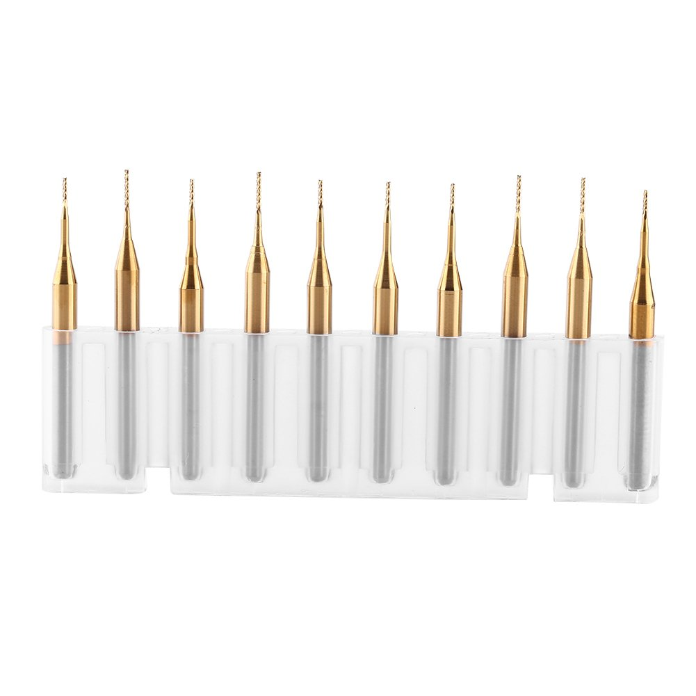 10pcs 3.175mm Shank Titanium Coat Tungsten Carbide End Mill Engraving Bits for Corn Tip PCB CNC SMT Rotary Burrs Milling Cutter 0.6mm Diameter by Walfront