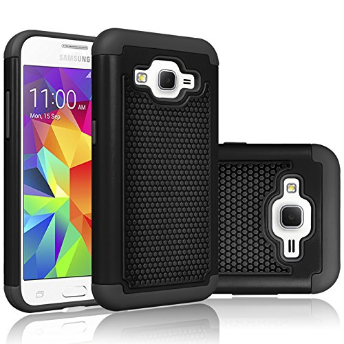 Core Prime Case, Tekcoo(TM) [Tmajor Series] [Coal Black] Shock Absorbing Hybrid Rubber Plastic Impact Defender Rugged Hard Protective Case Cover Shell for Samsung Galaxy Core Prime/Prevail LTE