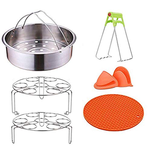 LIVEHITOP Instant Pot Accessories 6,8 QT Power Cooker Accessories Include Steam Basket Stackable Egg Steam Stand Plate Gripper Silicone Potholder Mat Mini Mitts for Instant Pot Steamer Basket