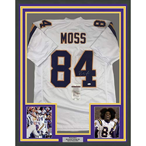 Framed Autographed/Signed Randy Moss 33x42 Minnesota White Football Jersey JSA COA
