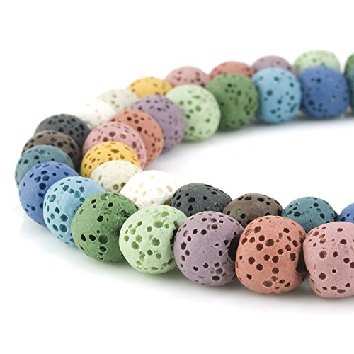 BEADNOVA 8mm Color Lava Gemstone Beads Energy Stone Healing Power Loose Beads for Jewelry Making 48~50pcs (8mm x 1 Strand, Mixed Color)