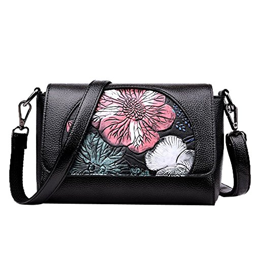 Satchel Fashion Black2 Bags Designer Floral Handbags Purse For Womens Shoulder wSqX4PSgO