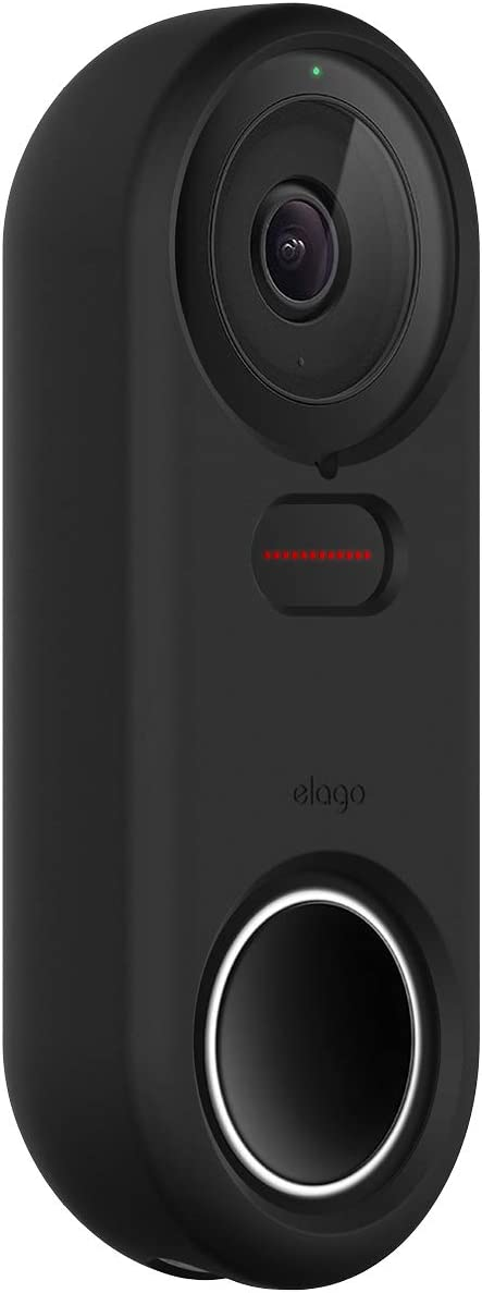 elago Silicone Case Designed for Google Nest Hello Doorbell Cover (Black) - Full Protection, Night Vision Compatible [US Patent Registered]