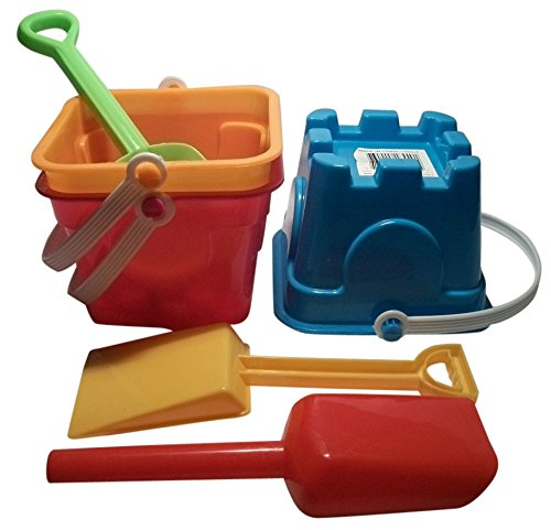 6 Piece Sand Castle Building Small Toy Set (3 Buckets, 3 Shovels) (Castle Bucket)
