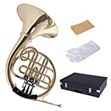 Costzon Brass French Horn, B/BB Flat 3 Key, Standard Student French Horn w/ Cupronickel Mouthpiece Case Gloves
