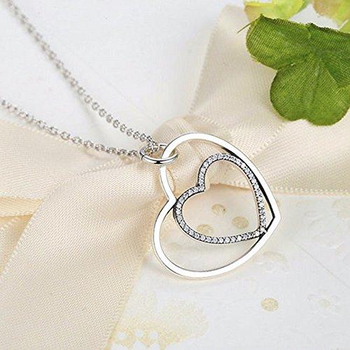 MESE London Collier Coeur Dans Un Coeur 925 Pendentif Amour Argenté Pendentif - Coffret Cadeau Élégant