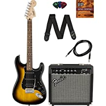 Squier by Fender Affinity Stratocaster HSS - Brown Sunburst Bundle with Frontman 15G Amp, Cable, Tuner, Strap, Picks, and Austin Bazaar Instructional DVD