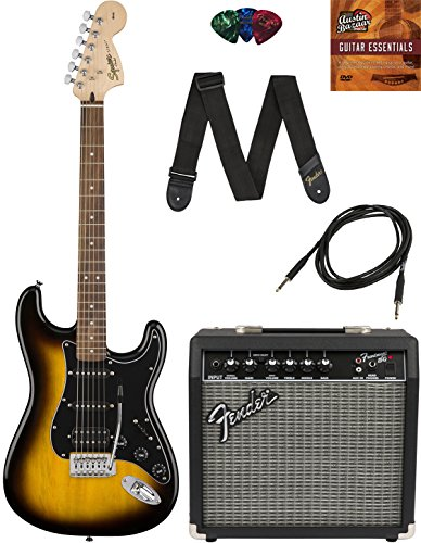 Squier by Fender Affinity Stratocaster HSS - Brown Sunburst Bundle with Frontman 15G Amp, Cable, Tuner, Strap, Picks, and Austin Bazaar Instructional DVD -