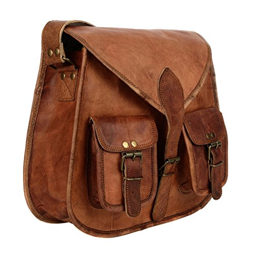 Saddle Style Brown Satchel Leather Bag q7w0tOax