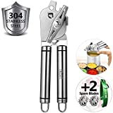 CHLEBEM Can Opener Manual Can Opener Smooth Edge Can Openers Seniors Arthritis Jar Opener Weak Beer Bottle Opener Canning Lids Pampered Chef Commercial 304 Stainless Steel Heavy Duty Safety