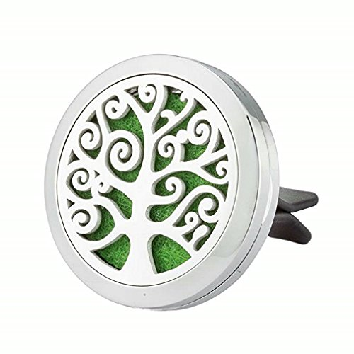 JAOYU Aromatherapy Car Diffuser Essential Oil Car Air Freshener Stainless Steel Vent Clip Tree of Life Jewelry Birthday Gifts for Women Men