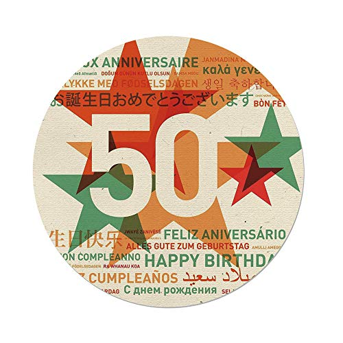 iPrint Polyester Round Tablecloth,50th Birthday Decorations,Happy Birthday in All Languages Retro Backdrop with Stars,Green Red Orange,Dining Room Kitchen Picnic Table Cloth Cover,for Outdoor Indoor