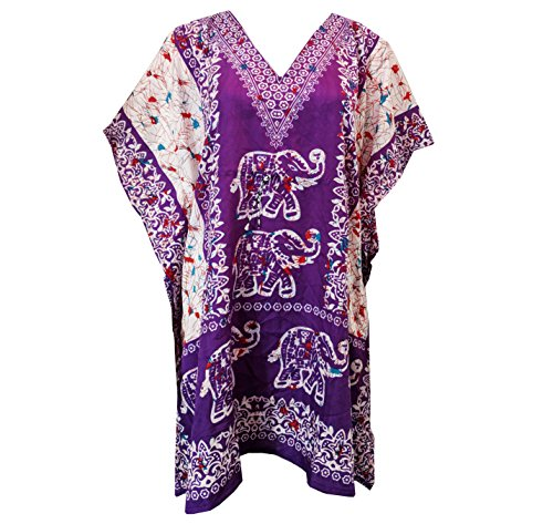 My Take Womens Printed Caftan One Size Purple