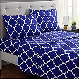 Mellanni Bed Sheet Set Queen - Brushed Microfiber Printed Bedding - Deep Pocket, Wrinkle, Fade, Stain Resistant - 4 Piece (Queen, Quatrefoil Imperial Blue) (B01E7UJJAK) | Amazon price tracker / tracking, Amazon price history charts, Amazon price watches, Amazon price drop alerts
