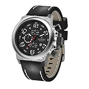 Timecode Everest 1953 TC-1004-01 Stainless steel 48mm Men's Watch BLACK dial with WHITE accents on a Black/White stitches genuine leather strap with Date window at 4 oclock and Chronograph movement