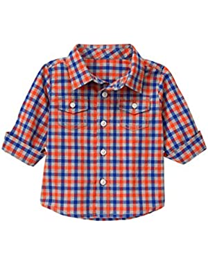 Baby Boys' Orange and Blue Plaid Woven Shirt