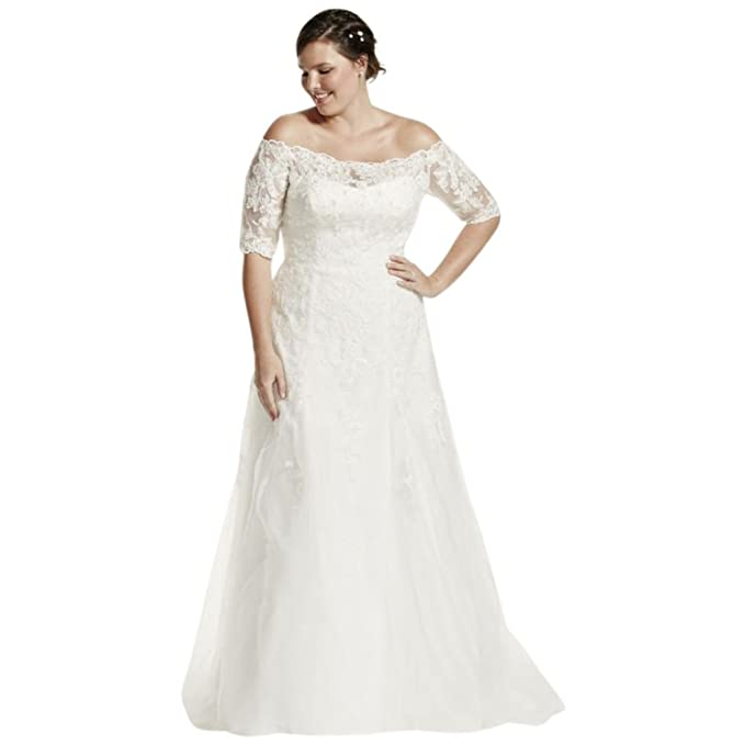 Sample: As-is 3/4 Sleeve Plus Size Wedding Dress Style ...