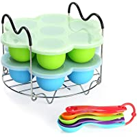 Silicone Egg Bites Molds for Instant Pot Accessories 6 qt 8 Quart, Including Steamer Rack Trivet with Heat Resistant Handles, Together with 5-Piece Measuring Spoons Set as Bonus