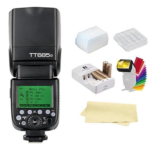 Godox TT685O TTL 2.4GHz GN60 High Speed Sync 1/8000s Wireless Master Slave Camera Flash Speedlite Speedlight Light For Olympus Panasonic Cameras+44AA batteries&Charger+Diffuser &Filter