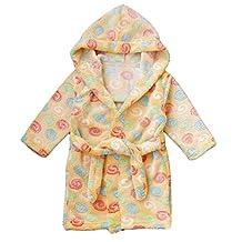 Children's Robe Pajamas Boys Girls Cotton Flannel Bathrobe Sleepwear Homewear Size 120 - Yellow with Color Rings