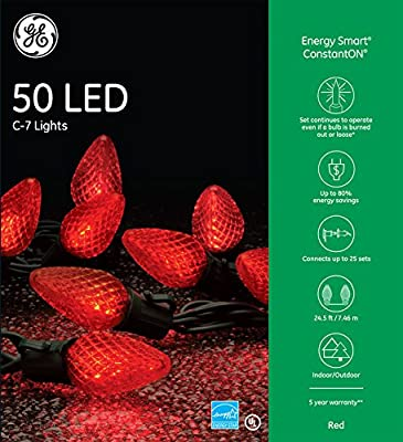GE 50-Count Constant Red C9 LED Indoor/Outdoor Christmas String Lights