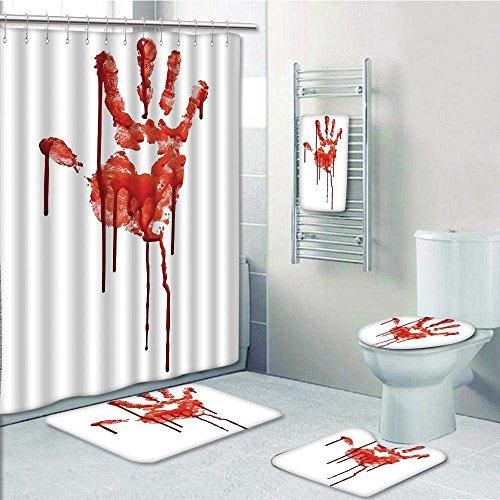 Durable Modeling Designer Bath Polyester 5 Piece Bathroom SetBloody Backgrounded Dead Terror Murder