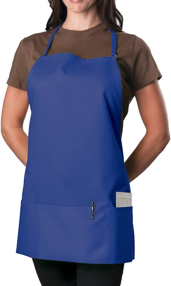 KNG Pack of 2 - Royal Blue Adjustable Bib Apron - 3 Pocket