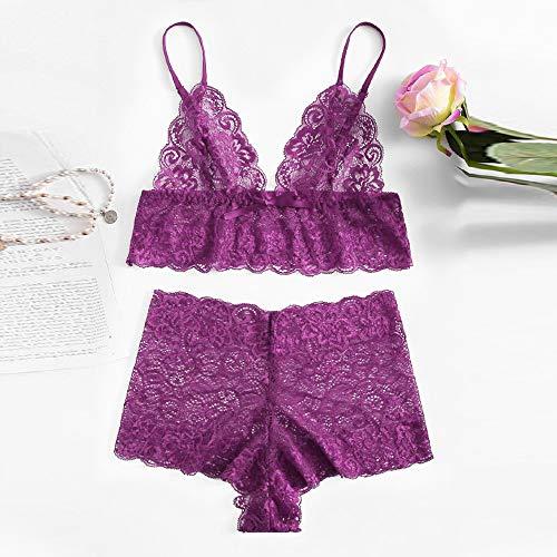 Ensemble Femmes Lingerie vêtements Sexy Dentelle Nuisette sous ◕‿◕LianMengMVP Grande Taille Cil Violet fBAYwH