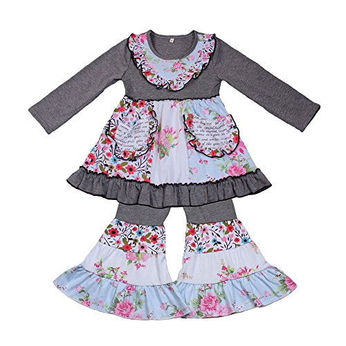Yawoo Haan Children Girls Ruffle Dress Pants Set 2pcs Boutique Outfits Clothing Grey -