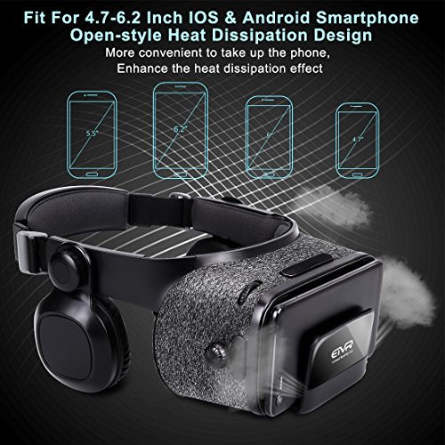 3D VR Headset With Remote Controller for 3D Movies & VR Games, Skin-Friendly Lightweight Comfortable Virtual Reality Headset with Stereo Headphone, Fit for 4.7''-6.2'' iPhone and Android Smartphones by EXCLEAD (Image #7)