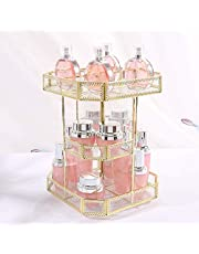 Beautiful and Practical Makeup Organizer, Cosmetic Storage and Vanity Perfume Organizers in Countertop Bathroom Dresser, 360 Rotating Makeup Holder Stand