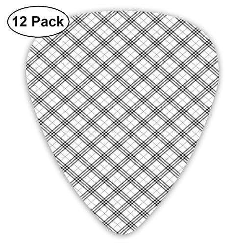 Guitar Picks - Abstract Art Colorful Designs,Monochromatic Diagonal Pattern With Checks And Stripes Dashed Lines Celtic Classic,Unique Guitar Gift,For Bass Electric & Acoustic Guitars-12 Pack ()