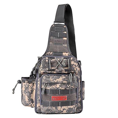 Fiblink Waterproof Sports Single Shoulder Fishing Tackle Bag Backpack or Handbag Chest Daypack Crossbody Messenger Sling Bags for Hiking Camping (Digital Camouflage)