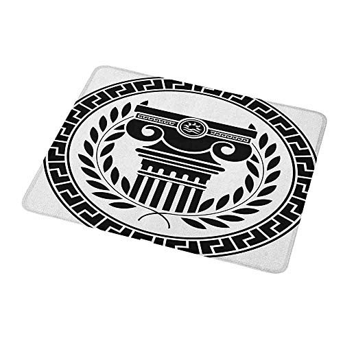 Gaming Mouse Pad Custom Toga Party,Hellenic Column and Laurel Wreath Heraldic Symbol with Olive Branch Graphic,Black White,Non-Slip Personalized Rectangle Mouse pad 9.8