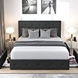 Allewie Queen Platform Bed Frame with 4 Drawers