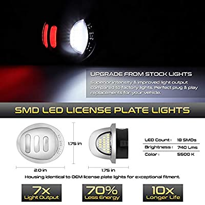 VIPMOTOZ Red OLED Neon Tube Pure White LED Chrome License Plate Light Tag Lamp Assembly Replacement For Ford F-150 F-250 F-350 Super Duty Ranger Pickup Truck Explorer Bronco Excursion Expedition: Automotive