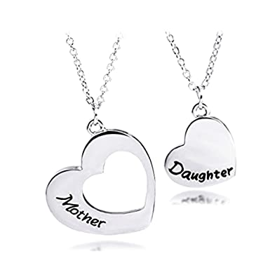 8bbce18a8 Amazon.com: Mother Daughter Heart Pendant Necklace Set, Two 2 Matching  Heart Mom and Me Heart Jewelry Family Necklace Gift for Mom Daughter (Heart  Hollow): ...
