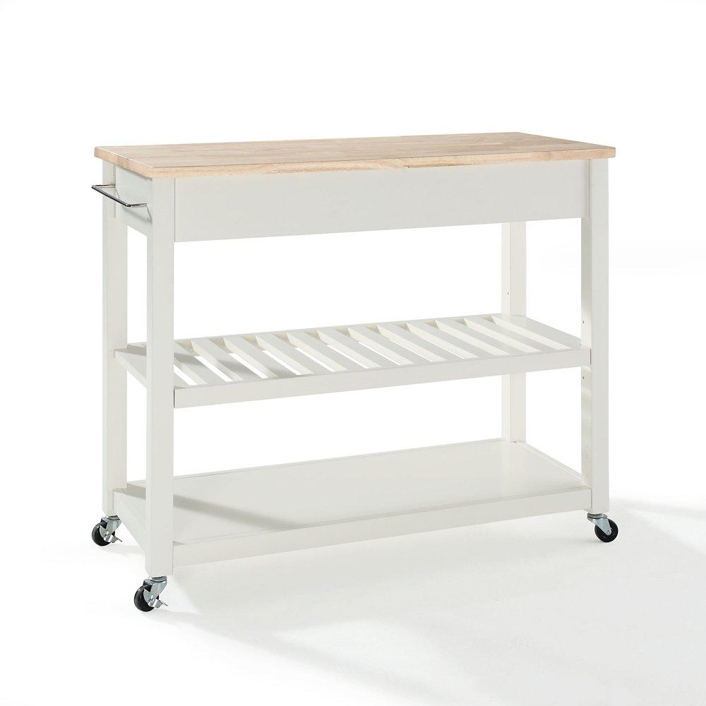 Crosley Furniture Kitchen Cart Amazoncom Crosley Furniture Natural Wood Top Kitchen Cart