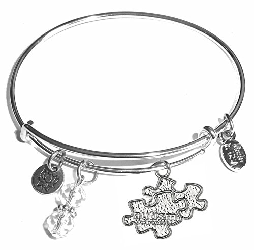 Message Charm (46 words to choose from) Expandable Wire Bangle Bracelet, in the popular style, COMES IN A GIFT BOX! (Autism) -