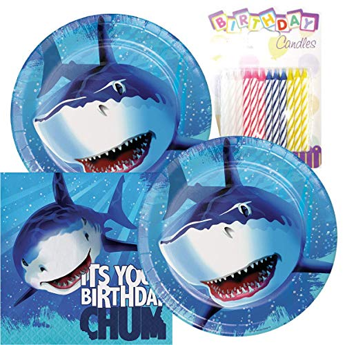 Shark Splash Happy Birthday Theme Plates and Napkins Serves 16 With Birthday Candles]()