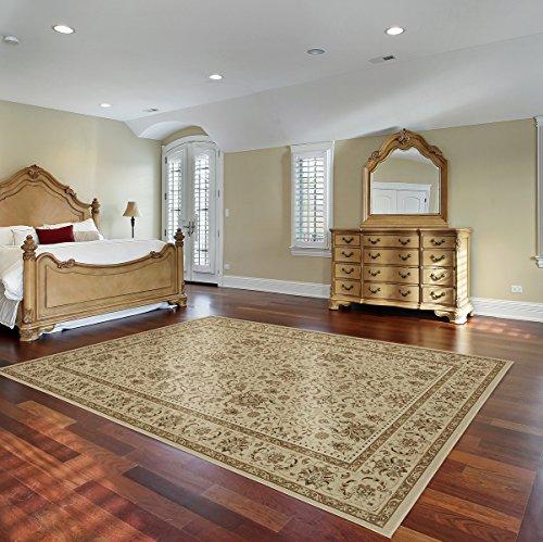 Gertmenian 78117 Traditional Rug Platinum High Density Persian Carpet, 8' x 10' Large, Ivory Abstract Floral (Rug Royal Kashan)