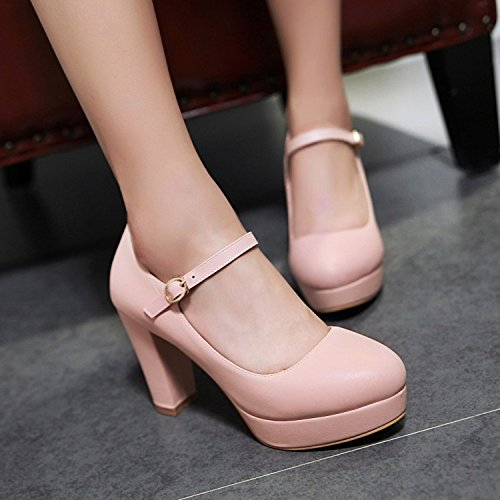 KHSKX-High Heel Of Thick Heel Waterproofing Pink Shoes One Word Buckle With Professional Leather Shoes Thirty-seven dCnG6